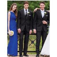 패션 높은 품질의 현대 새틴 두 버튼 블랙 신랑 턱시도 남성 웨딩 정장 (재킷 + 바지 + 조끼) 슬림 맞춤 정장 D66