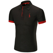 2019 New Fashion Man Polo Shirt Mens Casual Deer Embroidery Cotton Men Short Sleeve High Quantity