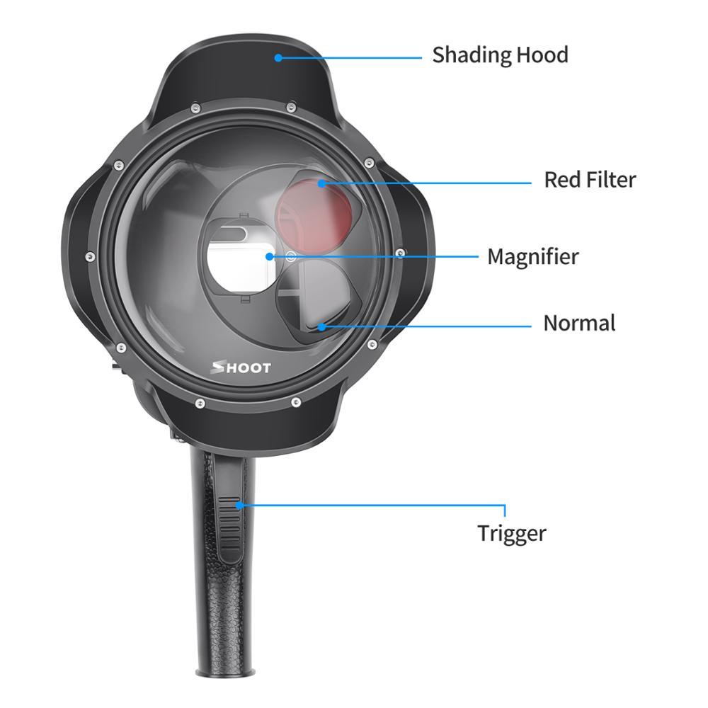 SHOOT buceo Domo Puerto impermeable filtro de la cubierta conmutable Domo para GoPro Hero 7 6 5 negro accesorio subacuático para Go pro 7 6 5