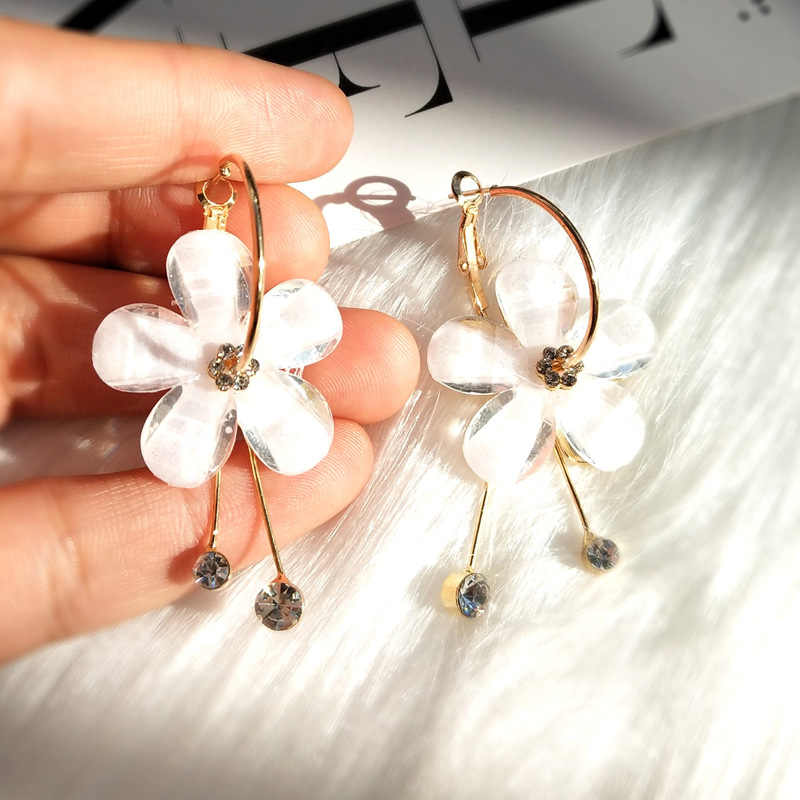 New Korean 6 Petal Acrylic Zircon Tassel Earrings Brincos OorbellenTransparent Earrings For Women Earrings  Wholesale
