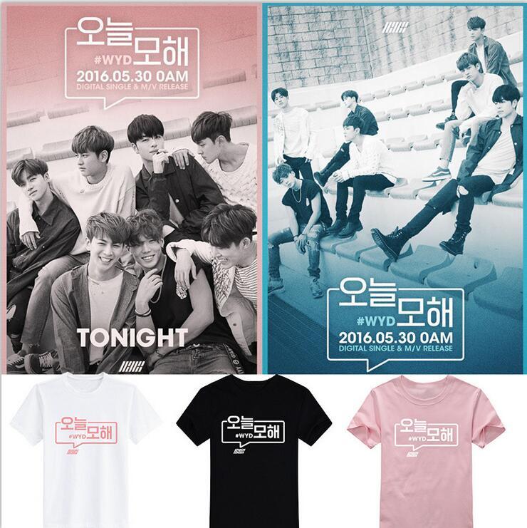 IKON Kpop T BI Jin Kim Ji Yuan Hanbin BOBBY summer cotton short-sleeved cotton shirt Men and Women Plus 3XL T-Shirts