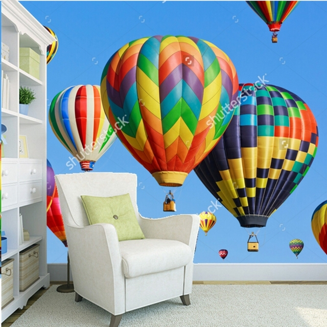 couleur papier peint color ballons air chaud contre 3d moderne paysage pour salon chambre. Black Bedroom Furniture Sets. Home Design Ideas