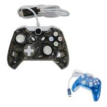 2 PCS Transparente Preto/Azul de alta qualidade USB wired game controller Para Xbox One com LED Piscando Luz