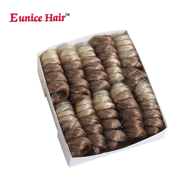 Eunice hair 10 16 20inch small curly synthetic corchet braids hair extension ombre burgundy/gray/brown braiding bouncy twist