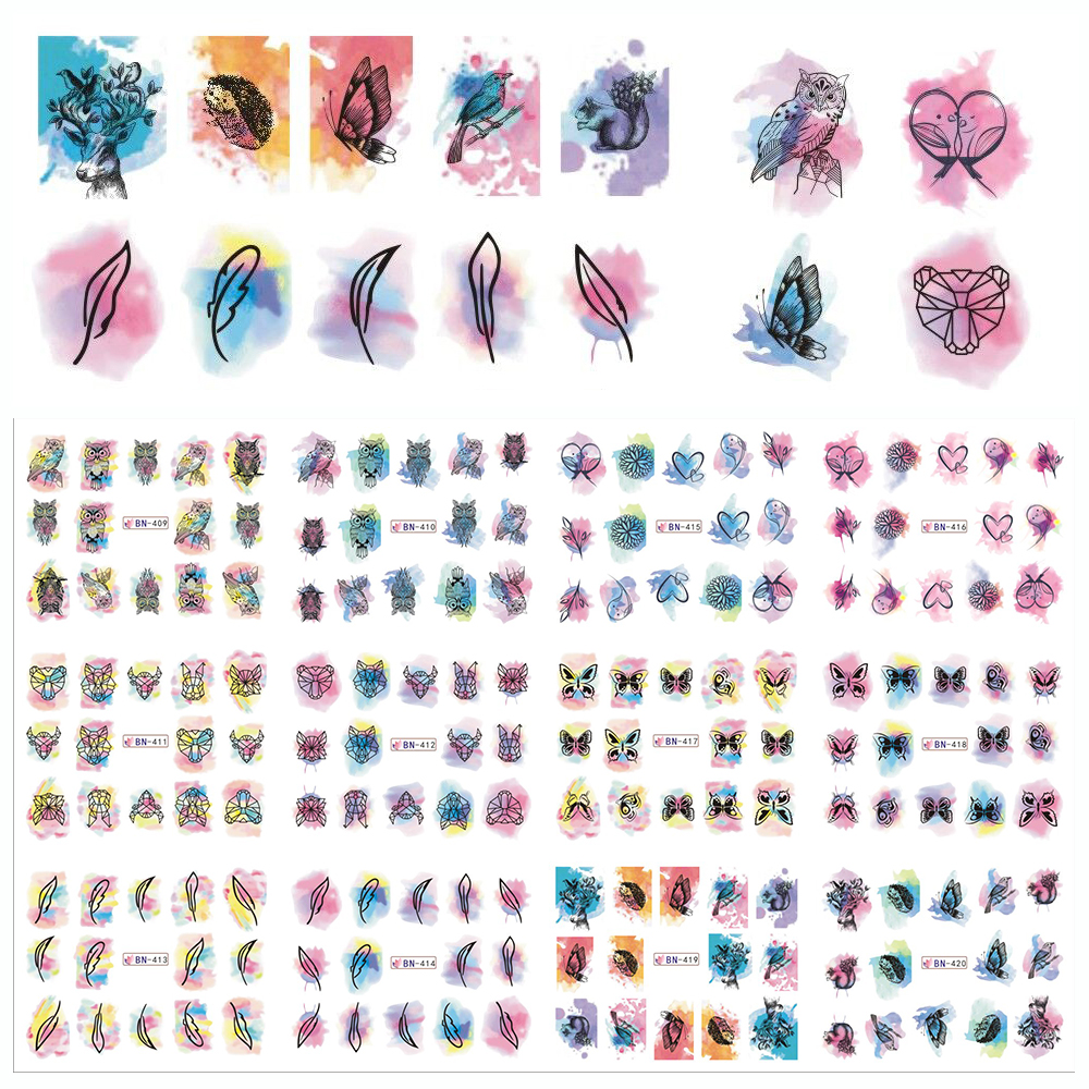 2017 Fashion 48pcs/lot Colorful Print/Cute Cartoons Nail Art Water Transfer Stickers Decals Manicure Full Wraps SABN409-456 стоимость