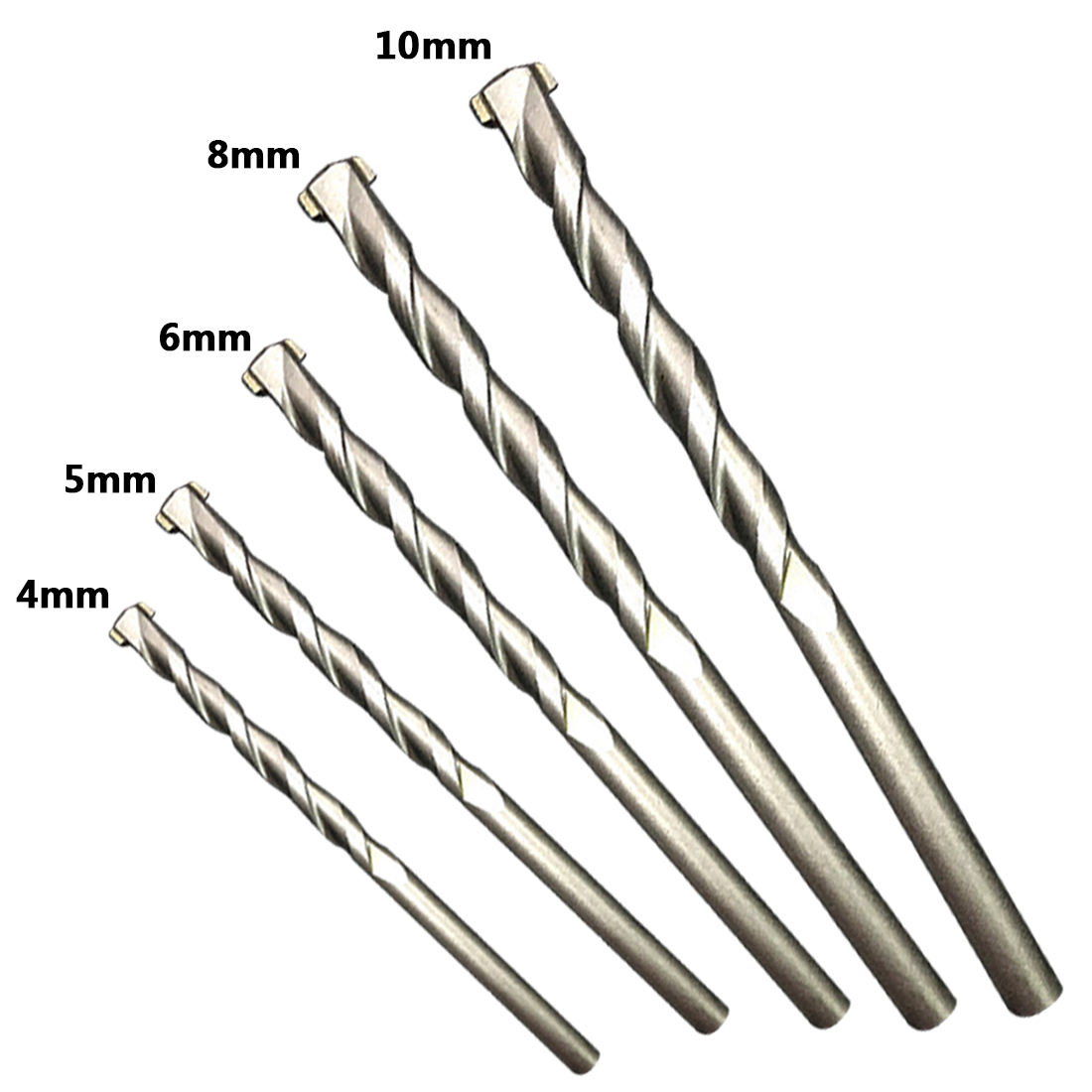 Round Shank Spiral Flute Rotary Masonry Drill Bits Set 4/5/6/8/10mm Galvanized Drills For Drilling Concrete Brick Tile