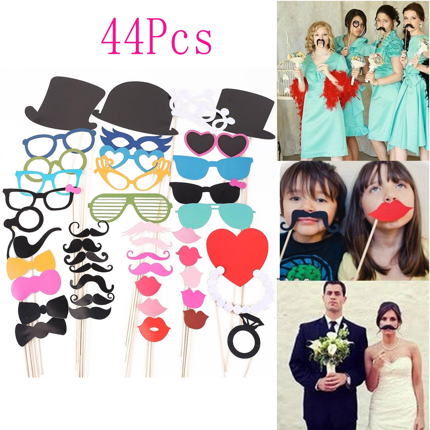 Satkago 44Pcs DIY Photo Booth Photography Props Mustache Glasses Lips Caps On A Stick for Happy Fun Wedding Birthday Party