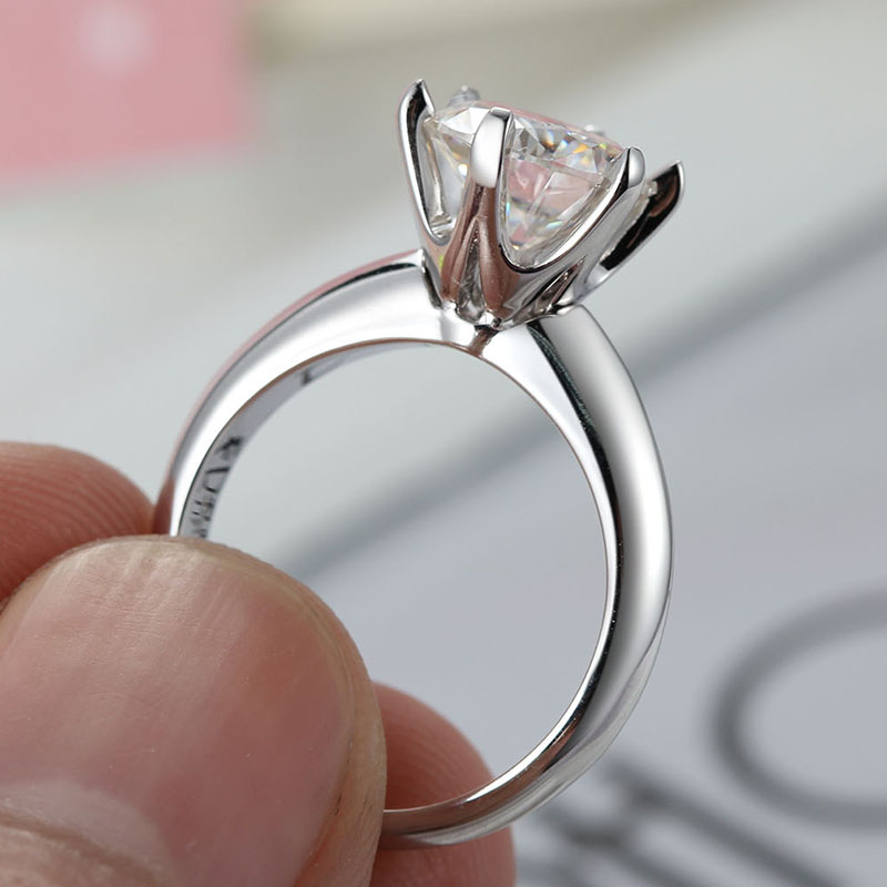 1ct Moissanite Diamond Delicate Solitaire Engagement Ring in 14k White Gold