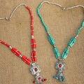 Tibet Nepal étnico jóias vintage vermelho e azul colar de madeira D-30