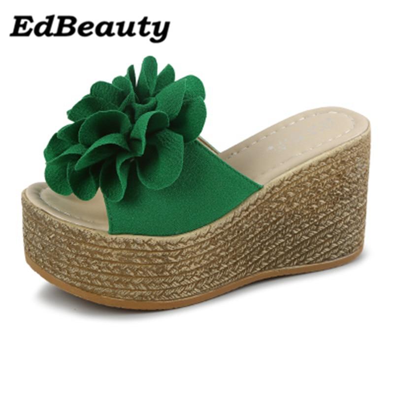 Newest 2017 High Quality Bohemia Flowers Woman Beach Flip Flops Summer Sandals Slip Resistant Slippers Platform Sandals Shoes