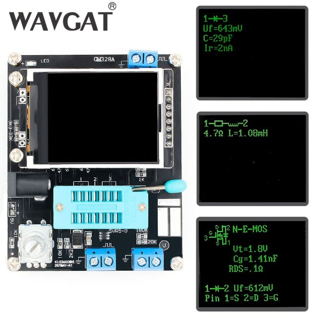 WAVGAT LCD GM328A Transistor Tester Diode Capacitance ESR Voltage Frequency Meter PWM Square Wave Signal Generator SMT Soldering