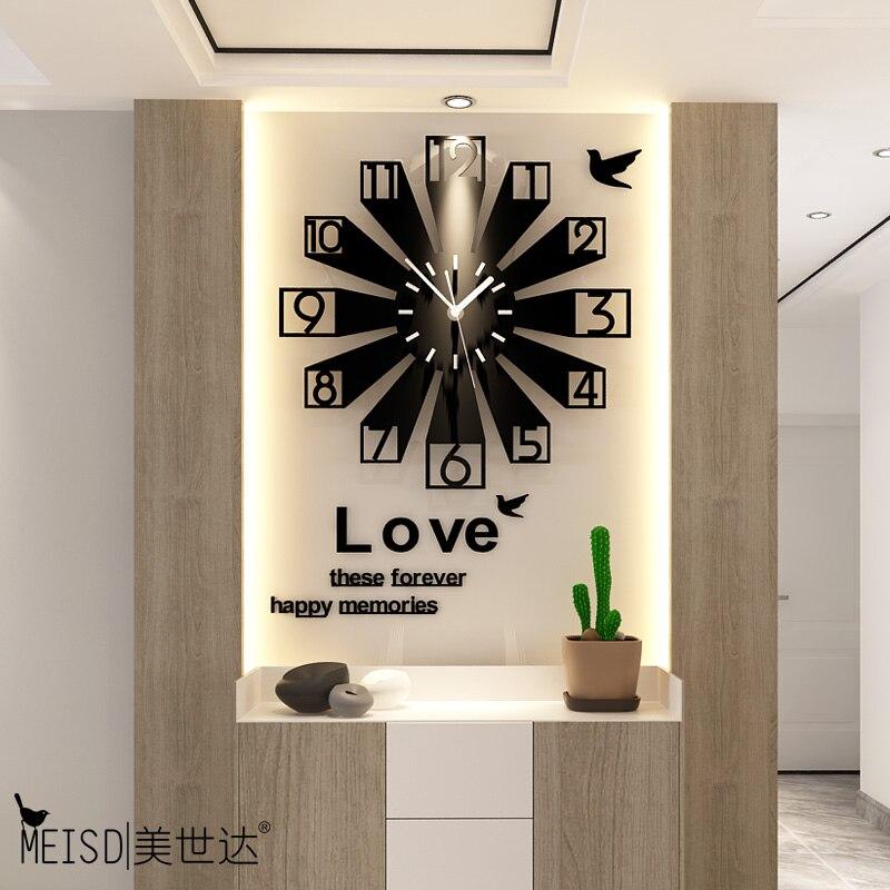 Grande horloge murale silencieuse Design moderne 3D Quartz numérique horloges décoratives acrylique Stickers muraux salon Klok livraison gratuite