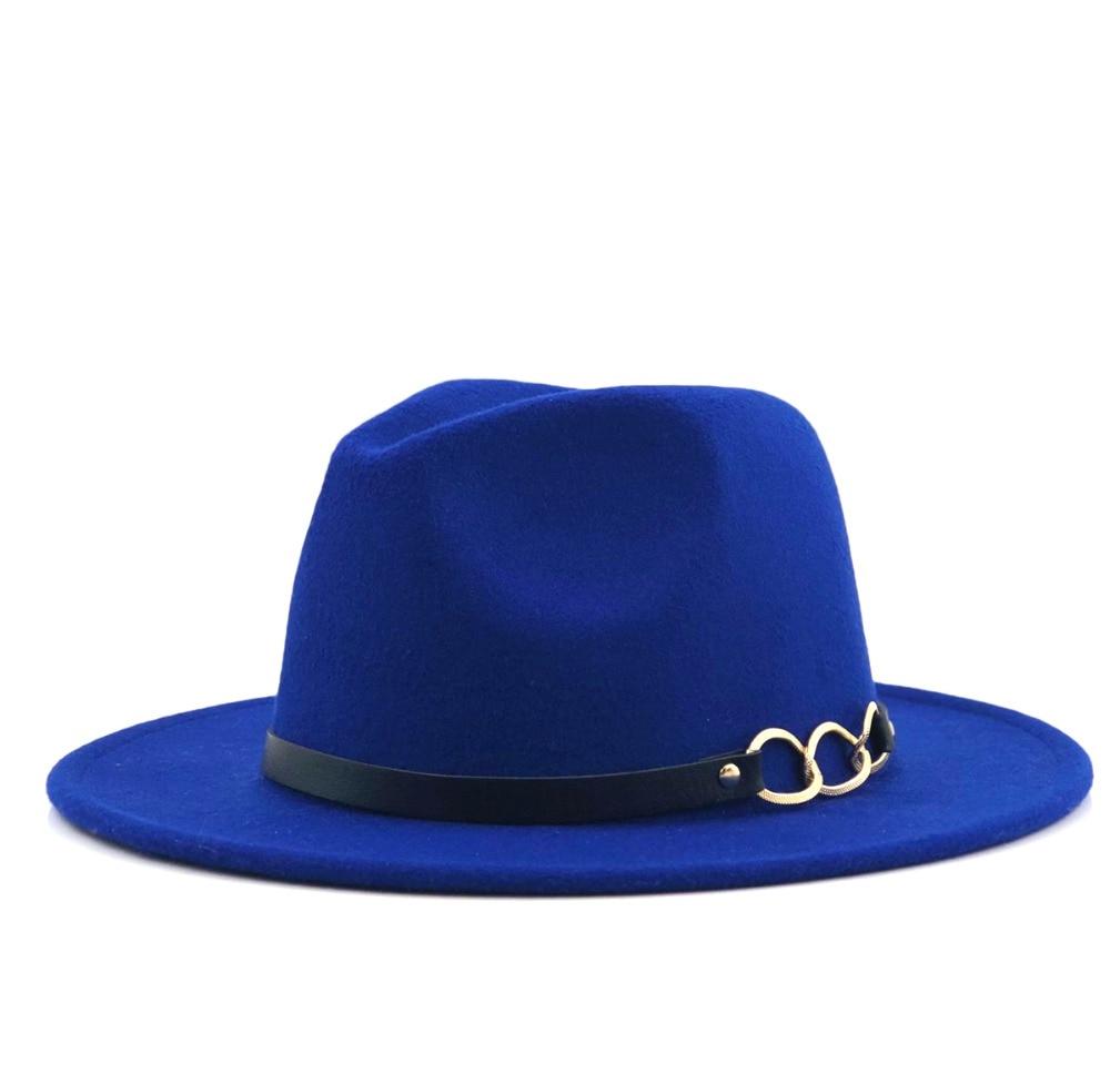 d20741b623c Wide Brim Autumn Female Fashion Top Jazz Cap Winter Fashion Wool Fedora Hat  For Women Chapeau