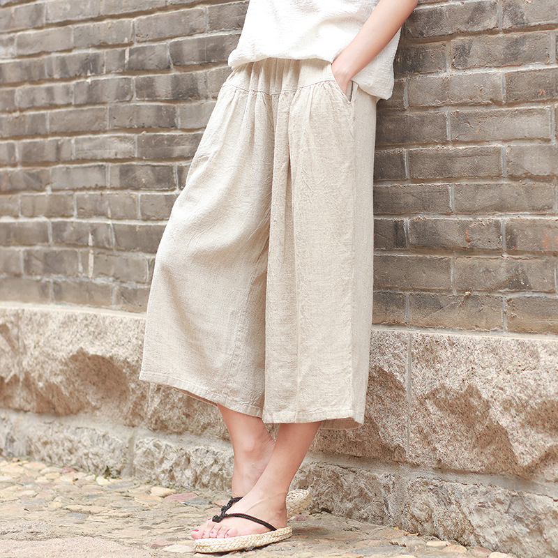 HOT 2018 summer casual trousers ladies solid color calf length pants linen wide pants pleated women clothes,YJKY578