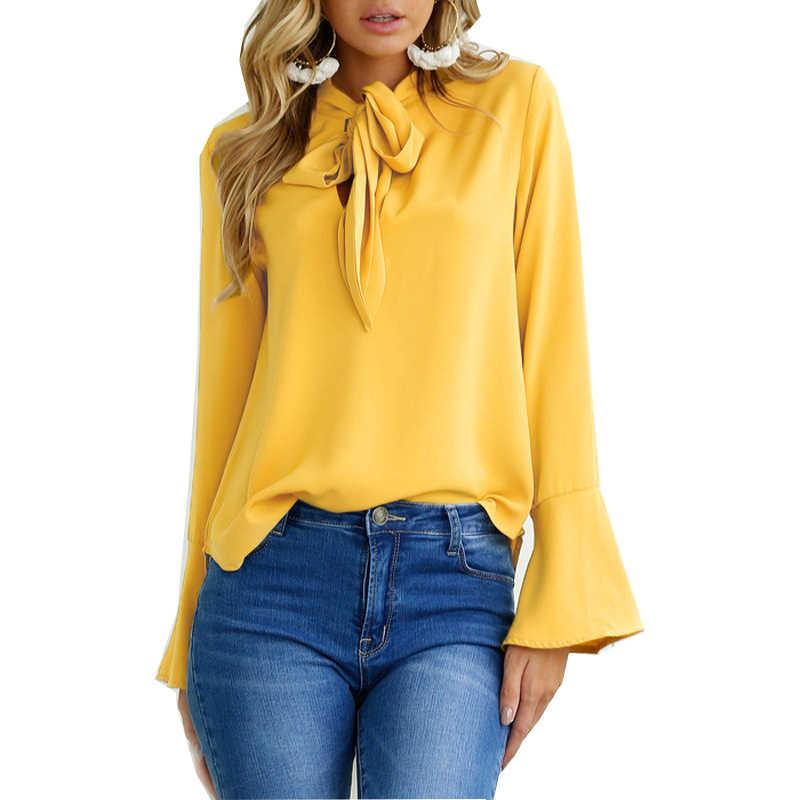 Blusas e blusas das mulheres 2019 verão moda outono cor sólida alargamento manga laço camisa blusa feminina vestidos oym0506