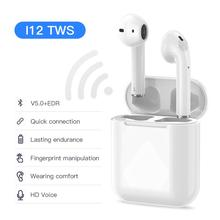 цена на I12 TWS Wireless Earphones Bluetooth Music Stereo TWS Earbuds with Android/IOS V5.0 Bluetooth Earphones HIFI Bass TWS i12 Earbud