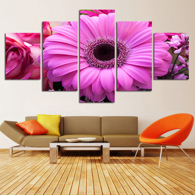 Living Room Canvas HD Print Painting Modular 5 Panel Big Pink ...
