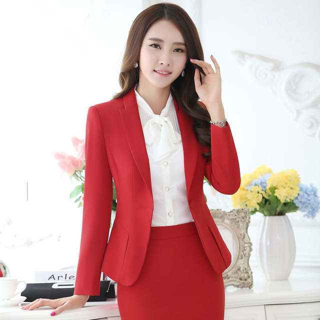 a34406e689 Work wear fashion women clothes set long sleeve blazer with trouser office ladies  women formal plus