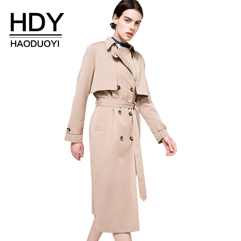 HDY Haoduoyi Cáqui Sólida Mulheres Rua Casual Coats Outono Turn Down Collar Double Breasted Trench Coats Outwears Natural Solto