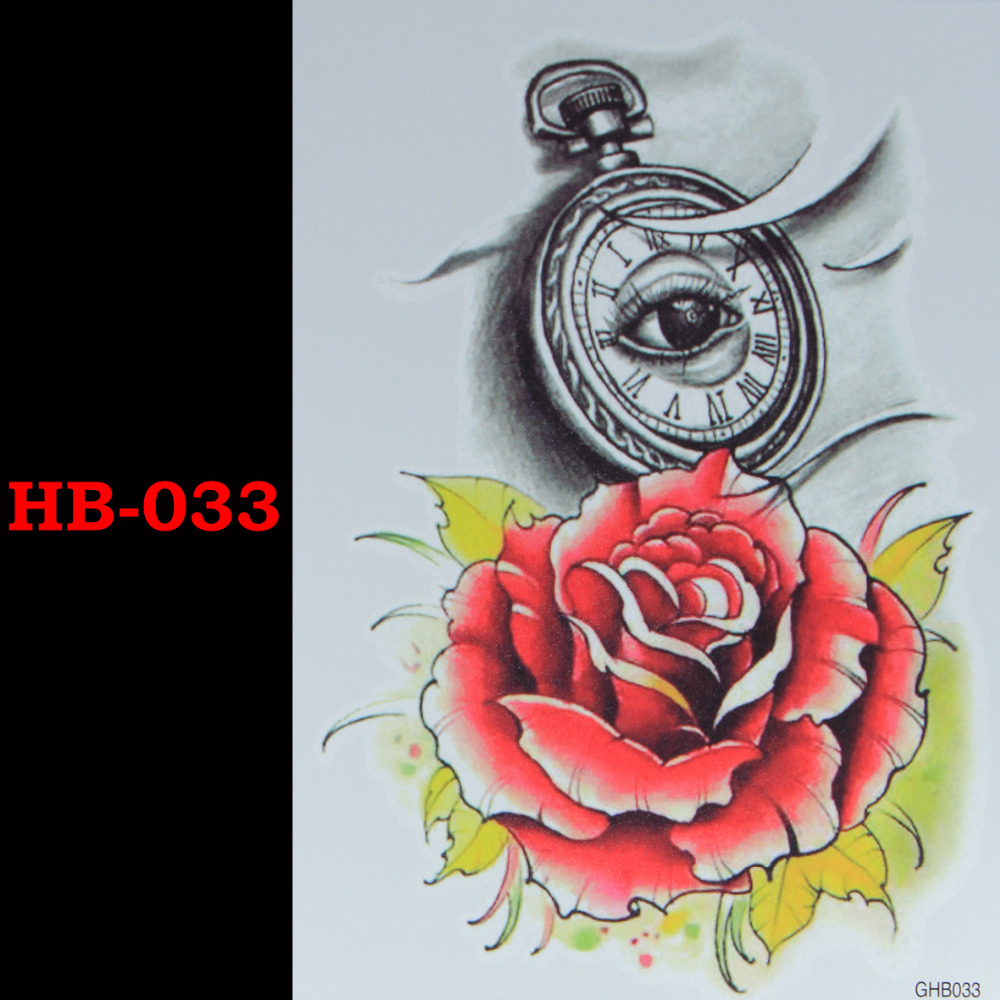 Red rose temporary tatto waterproof pria wanita 3d tattoo lengan stiker tato palsu lengan lengan tato tubuh bahu