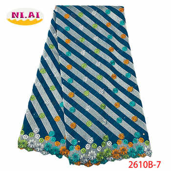 Blue High Quality Cotton Lace Fabric 2019 Latest Swiss Voile African Stones Swiss Voile Lace In Switzerland For Dress XY2610B-8 - DISCOUNT ITEM  35% OFF All Category