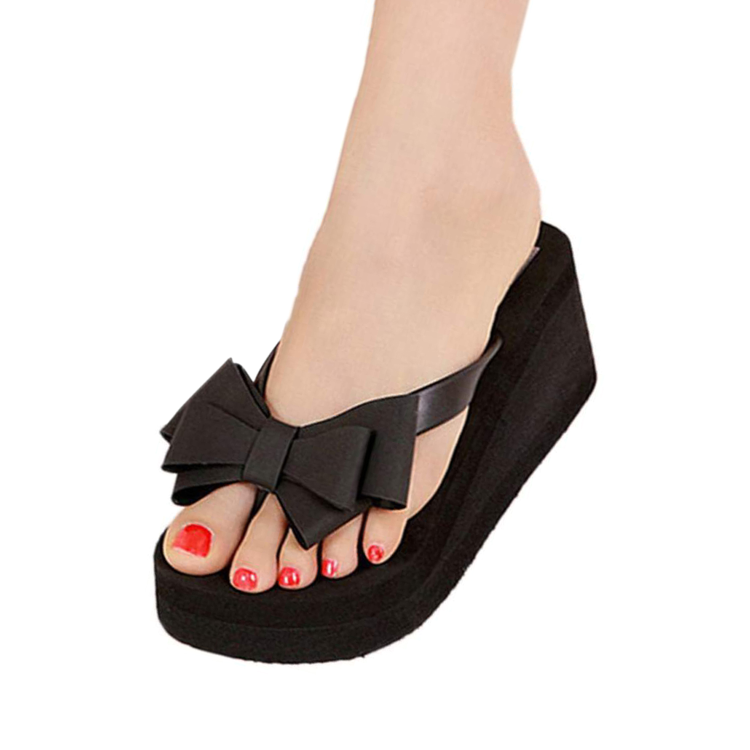 New 1pair summer women shoes sandalet Knotbow Sandals Shoes Beach Flat Wedges  flip flops womens platform flip flopsin Low Heels from Shoes on