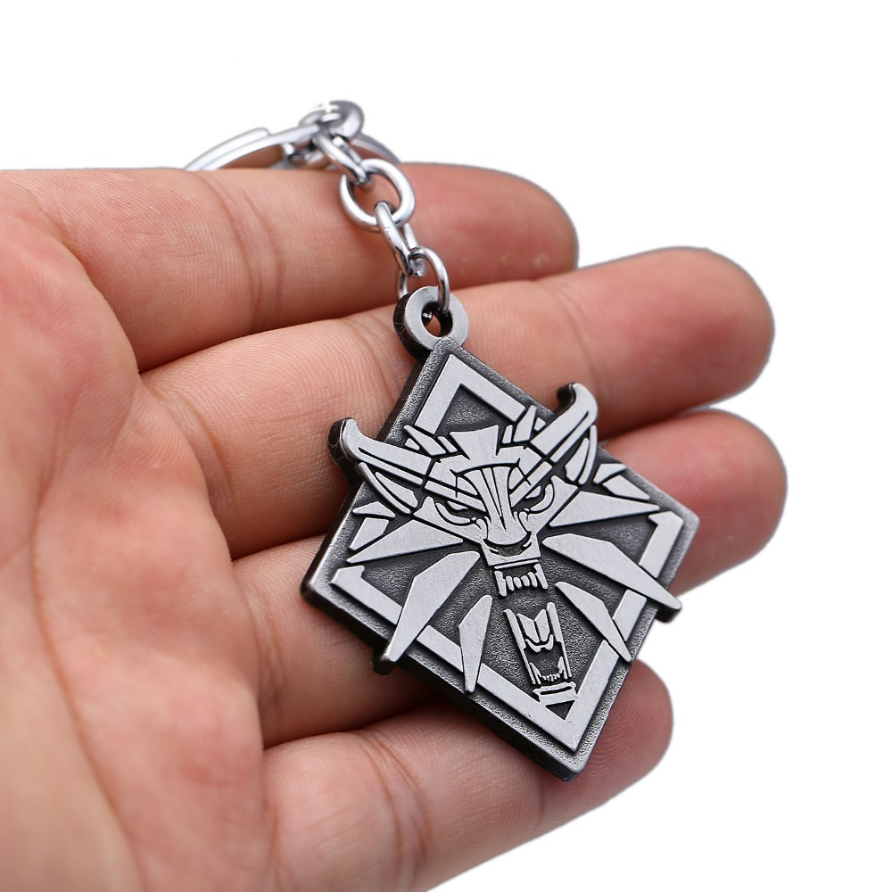 HSIC Game New The Witcher 3 Keychain Game Wizard III Hunter Wolf Head Metal Key Ring For Women Men Jewelry Wholesale HC12381