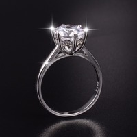 Hot Sale Brand 925 Sterling Silver Ring Classic Six Claw 3 Carat 8mm Big Simulated Diamond