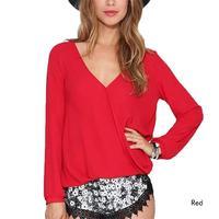 New Summer Style Sexy Deep V Neck Causal Women Blouses Chiffon Shirts Long Sleeve Tops Black