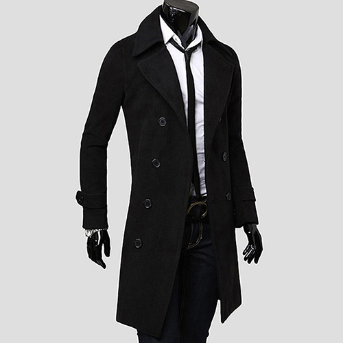 Men Casual Fashion Autumn Winter Warm Double-breasted Slim Long Dust   Coat   Jacket