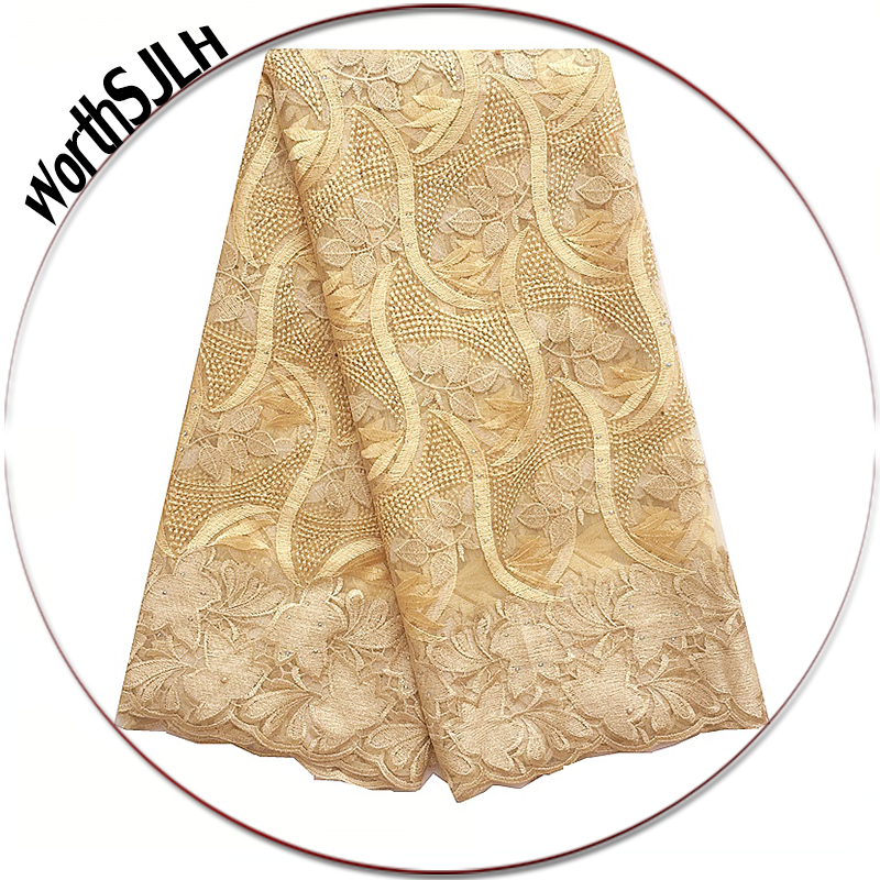 Gold Tulle French Laces Fabric High Quality Nigeria Swiss Lace Material 2019 Purple African Laces Fabric For Nigerian Party in Lace from Home Garden