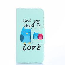 Colofrul Padrão Coruja Dos Desenhos Animados Amor Slot Para Cartão de Carteira de Couro PU ficar tampa do caso da aleta para o htc one mini 2 m8 mini