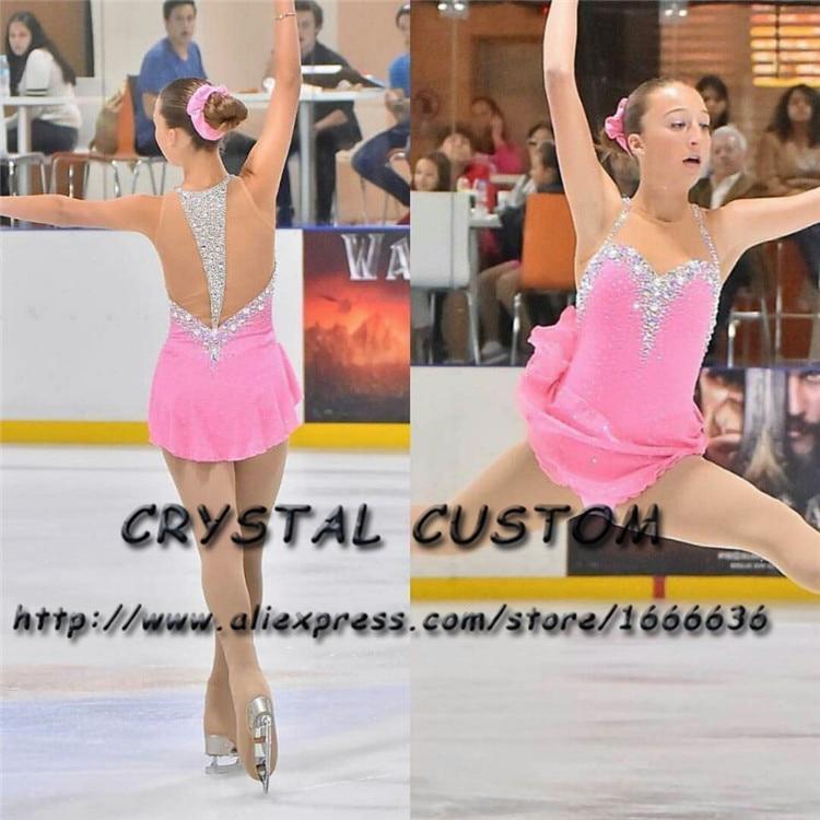 Cristal Meninas Vestido Nova Marca de Patinação No Gelo Roupas de Patinação professional Figura Personalizada Para A Competição DR4685