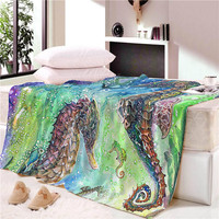 Hippocampus Shells Seastar Wall Tapestry Hanging Beach Picnic Throw Rug Blanket Camping Tent Travel Sleeping Pad