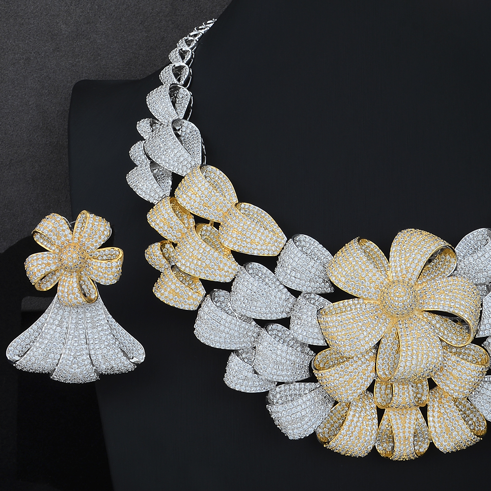 Image 4 - Luxury Big Flower Necklace Bracelet Earring Ring Jewelry Sets Cubic Zirconia For Wedding Engagement Anniversary PerformanceJewelry Sets   -