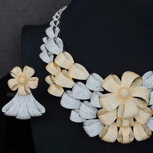 Image 4 - יוקרה גדול פרח שרשרת צמיד עגיל טבעת תכשיטי סטי מעוקב Zirconia לחתונה אירוסין יום נישואים ביצועים