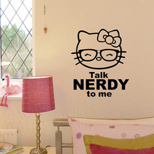 Wallpaper Talk Nerdy to Me Glasses Hello Kitty Custom Made Vinyl Decal Wall Sticker hello kitty room decorations 43*50CM