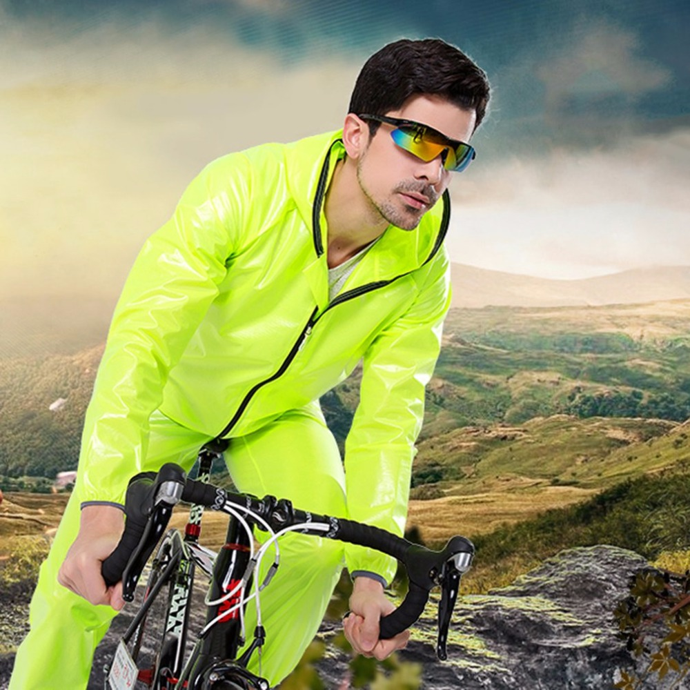 Unisex Super Light Hooded Split Sport Clothes Waterproof Raincoat Riding Mountain Bicycle Bike Cycling Rain Suit Jerseys ai speed europe outdoor riding mountain bike cycling clothes ultra thin breathable split poncho raincoat portable