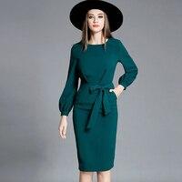 High Quality 2016 New Runway Autumn Dress Women O Neck Lantern Sleeve Elegant Brand Slim Dresses