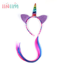 Baby Girls Tutu Cute Kids Cat Ears Hair Hoop with Braided Wigs Headwear Hairband Headdress for Birthday Party Cosplay(China)