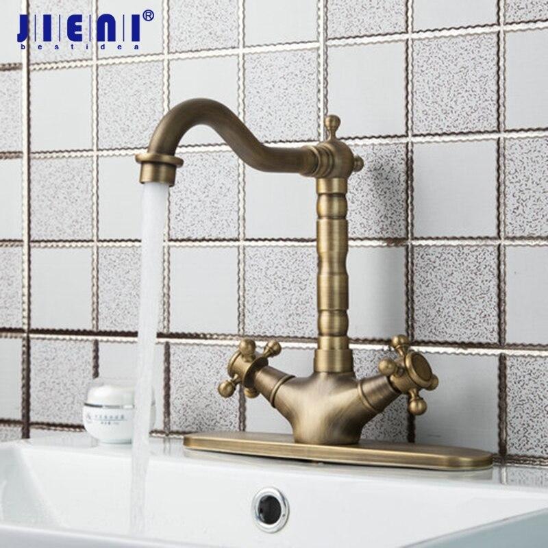 Swivel 360 Antique Brass Double Handles Rotated Kitchen Tap Brass Cover Plate 2 Hose Sink Torneiras Cozinha Tap Mixer Faucet все цены