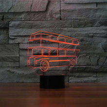 купить 3D LED 7 Color Changing Atmosphere Nightlight Double Decker Bus Shape Desk Lamp Usb Car Baby Sleep Lighting Bedroom Decor Gifts дешево