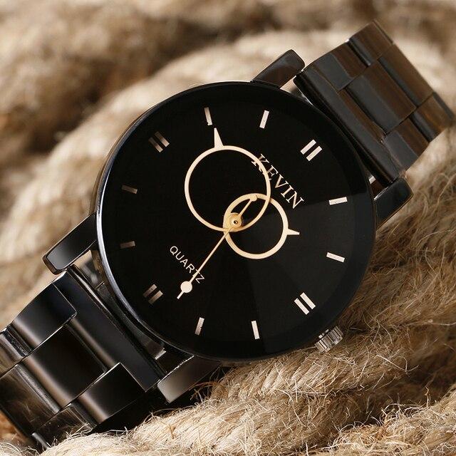 Mens Watches Top Brand KEVIN Luxury Black Stainless Steel Clock Women's Casual Sport Dress Quartz Wrist Watch Relogio Masculino