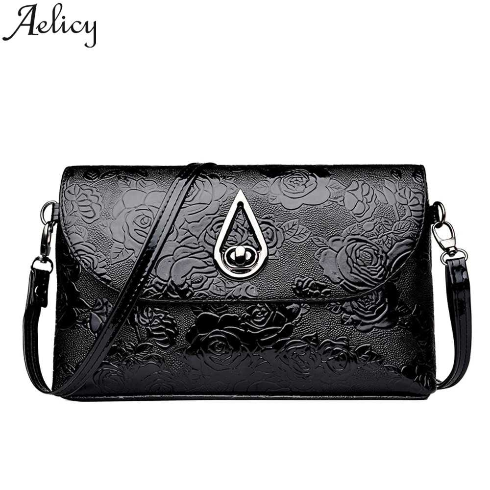 Aelicy 2019 Fashion Flower Pattern Leather Crossbody Shoulder Bags Clutch Bag Women Messenger Bags Leather Handbag Ladies Girl