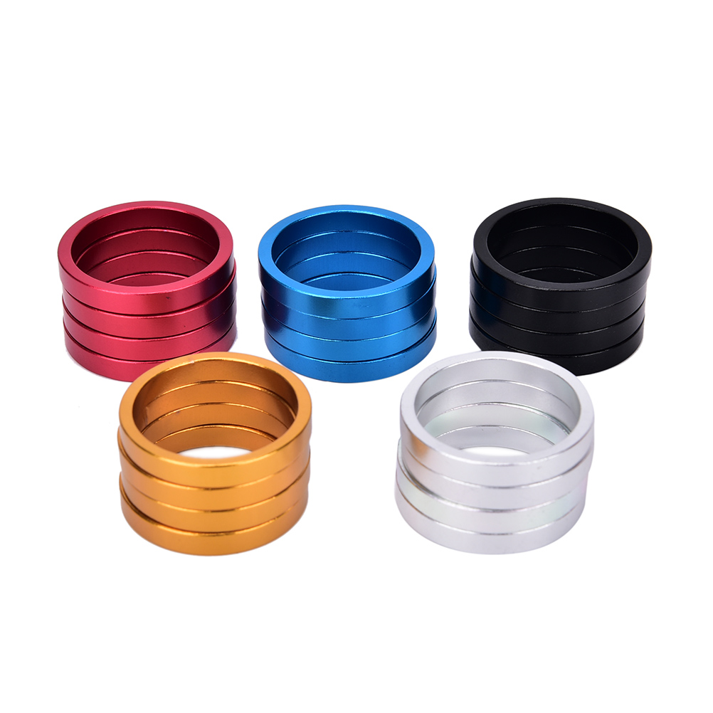 4pcs/set Aluminum Bike Headset Washer Mountain Bicycle Front Fork Washer Bike Stem Handlebar Spacers Ring Gasket