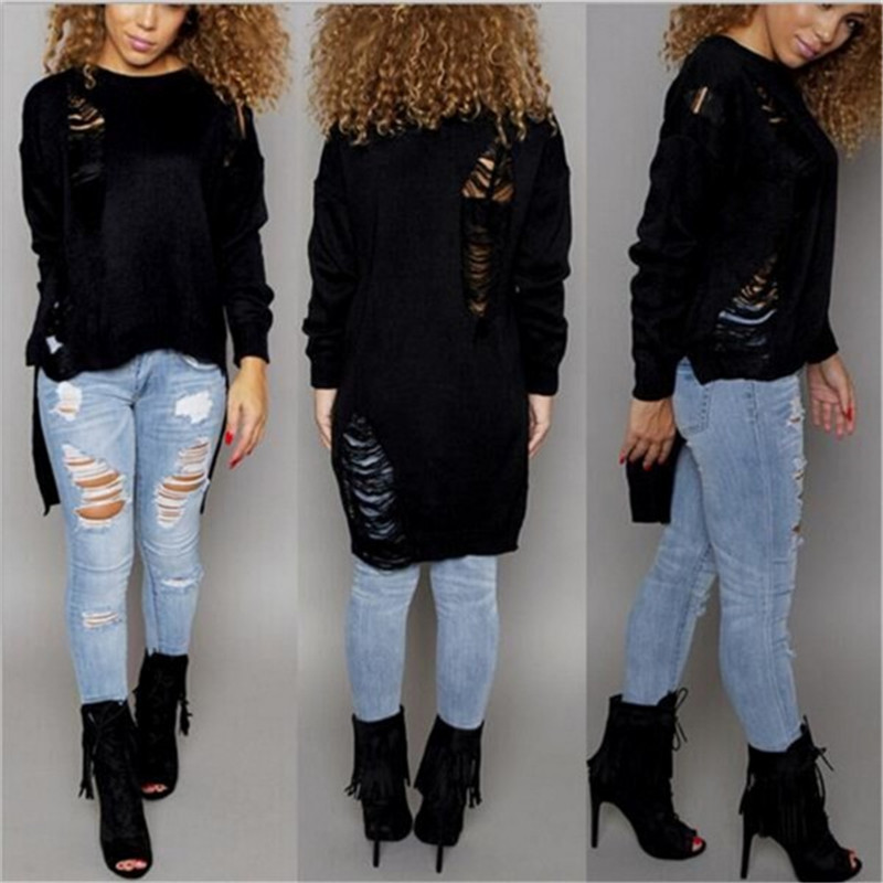 Spring Fashion Destroyed Sweaters Knitted Tassel Women Sweaters ...