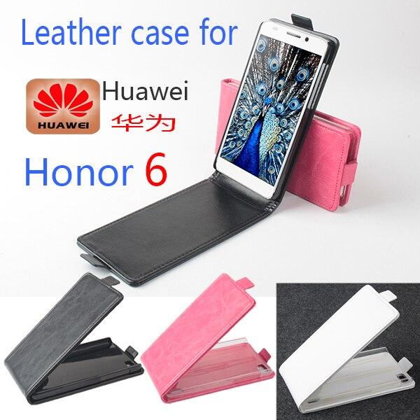 De cuero de lujo original de huawei honor 6 case cubierta del tirón del teléfono
