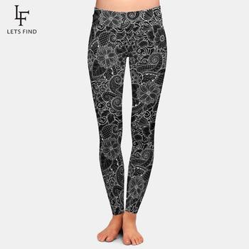 2019 New Fashion Women High Waist  Plus Size Black Leggings 3D  Printing Flowers Pattern Milk Silk Leggings Hot Sale 1