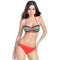 Latest Hot Beach Rainbow Sexy Bandeau Swimsuit Women Bikini Set Strappy Side Neno Trible Stripe Push