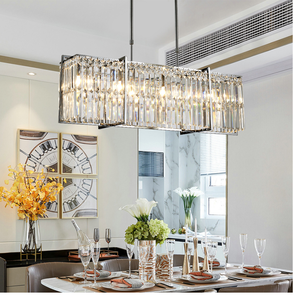 Dining Room Crystal Chandelier Luxury Led Cristal Lampadario Rectangle Polished Chrome